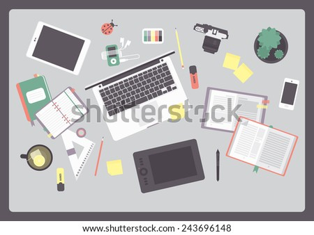 Flat design vector illustration of modern creative office workspace, with computer. The office of a creative worker.  - stock vector