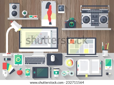 Flat design vector illustration of modern creative office workspace,workplace of designer. The office of a creative worker. Flat minimalistic style and color with long shadows - stock vector