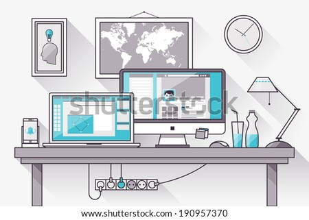 Flat design vector illustration of modern creative office workspace,workplace with computer. The office of a creative worker. Flat minimalistic style and color with long shadows. Stroke, thin line. - stock vector