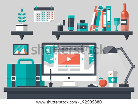 Flat design vector illustration of modern creative office workspace, workplace with computer. The office of a creative worker. Flat minimalistic style and color with long shadows. Office interior. - stock vector