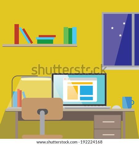 Vector flat design vector illustration of modern home office interior
