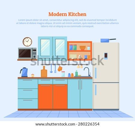 Flat design vector illustration of modern kitchen with furniture