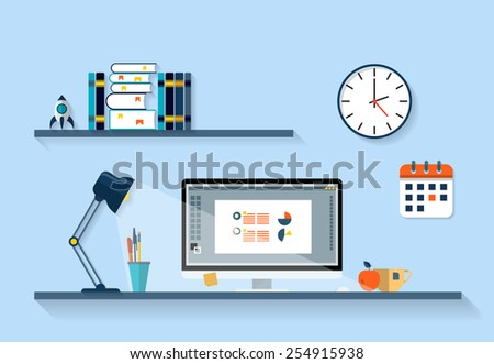Flat design vector illustration of modern office interior with designer desktop showing design application with interface icons and elements in minimalistic style and color. - stock vector