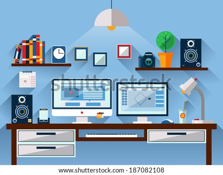 Flat design vector illustration of modern office interior. Workspace, workplace icons and elements in minimalistic style and color. - stock vector