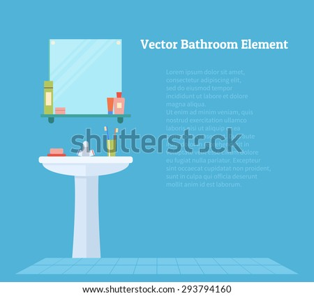 Flat design vector illustration of modern sink and mirror. Element of the interior bathroom - stock vector