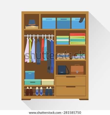 Flat design vector illustration of modern wardrobe room full of men's cloths. - stock vector