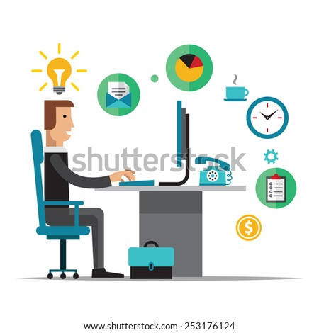 Flat  design vector illustration of office workplace. Business man working at computer.  - stock vector