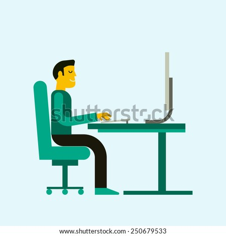 Flat  design vector illustration of office workplace. Business man working at computer. Cartoon character