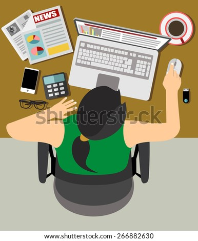 Flat design vector illustration of office workplace. Business Woman working at computer in flat design - stock vector