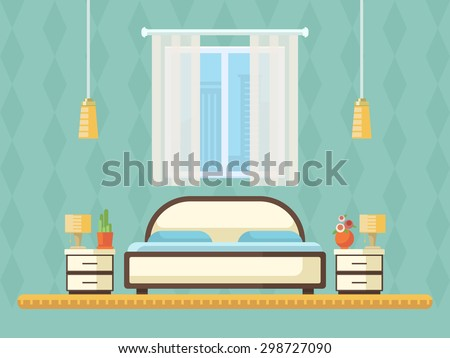 Flat Design Vector Illustration Of Room Interior With Bed, Nightstands,  Window And Lamp.