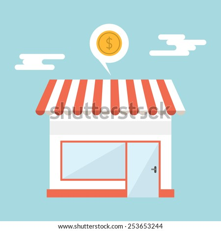 Flat design vector illustration of small business concept. House with shop - stock vector