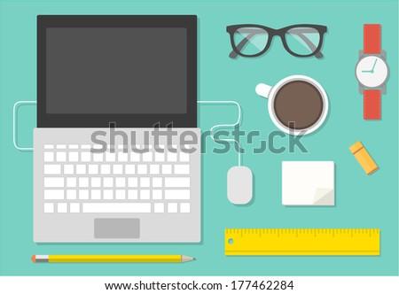 Flat design vector illustration of workstation. Computer desk - stock vector