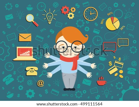 Flat design vector illustration of young business man. Busy secretary man managing his work with smile. Business idea concept with icons of office work and ecommerce