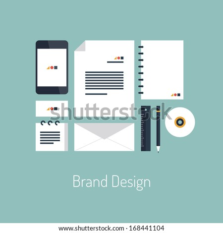 Flat design vector illustration poster concept with icons set of modern brand design identity with blank office objects organized for company presentation. Top view. Isolated on stylish background - stock vector