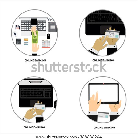 Flat design vector illustration poster concept with set of online banking web interface, financial service with credit card, top view. Flat design illustration - stock vector
