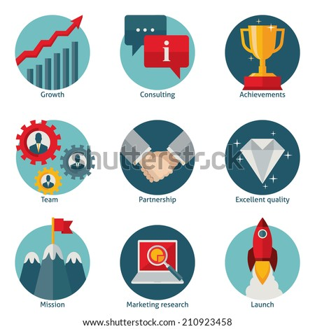Flat design vector illustration set of colored round detailed business icons isolated on white background - stock vector