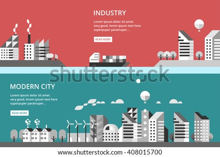 Flat design vector illustration with urban landscape and industrial factory buildings. - stock vector