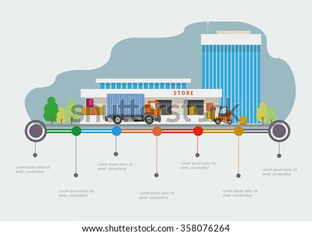 Flat design vector info graphic illustration  with store market and time-line. - stock vector