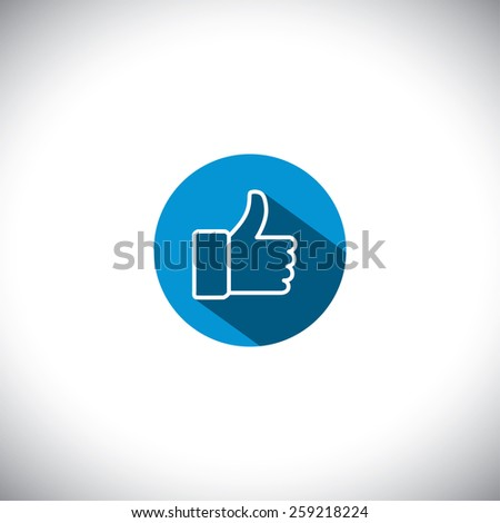 flat design vector line icon of approve symbol used in social media websites. this also represents concepts like endorse, accredit, vote, recommend, praise, appreciate, like - stock vector