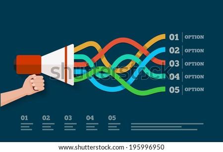 Flat design vector megaphone illustration.  - stock vector