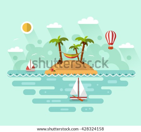 Flat design vector nature landscape illustration with tropical island, sun, palm, coconut, hammock, sailing boat, air balloon. Summer vacation on tropical island. Perfect holidays concept. - stock vector