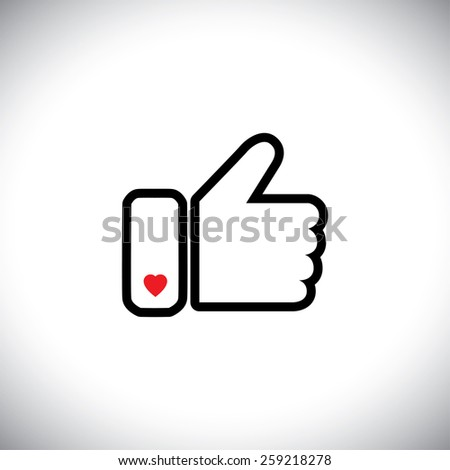 flat design vector of approval with heart love icon.  this also represents concepts like endorse, accredit, vote, recommend, praise, appreciate, like, thumbs up icon used in social media websites - stock vector