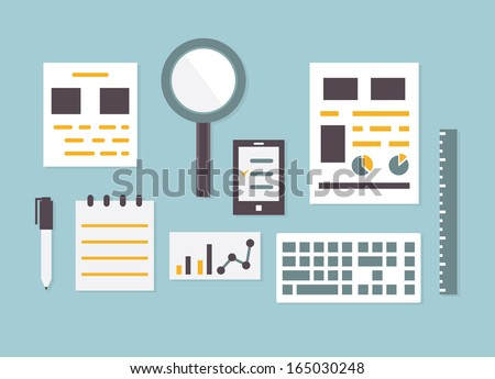 Flat design vector of objects and equipment analytics information - vector illustration - stock vector
