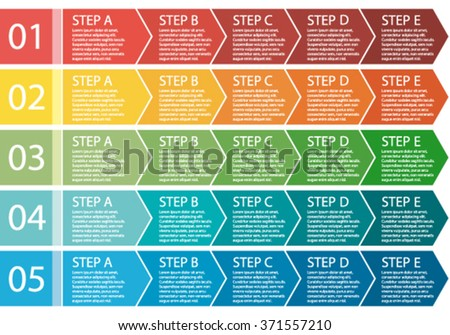 Flat design. Vector process arrows boxes. Step by step set. Five steps.  - stock vector