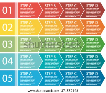 Flat design. Vector process arrows boxes. Step by step set. Four steps.