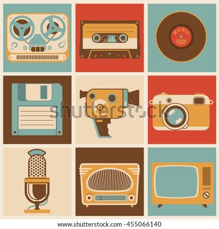 Flat design vector retro media icon set  for app and web design. Vintage media retro icon set. Retro cassette, disk, film camera, photo icon. Vector icon of tape recorder, vintage radio and retro TV.