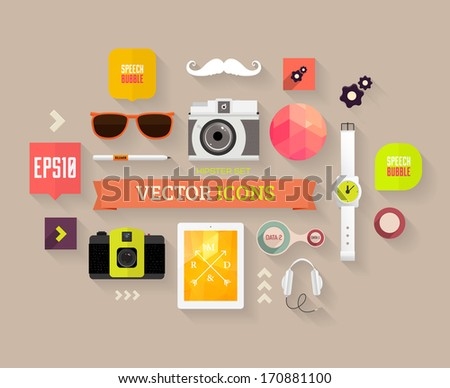 Flat Design Vector Set. Hipster Theme. Mustache, Glasses, Speech Bubbles, Tablet PC, Camera, Phone and other Icons Design. - stock vector