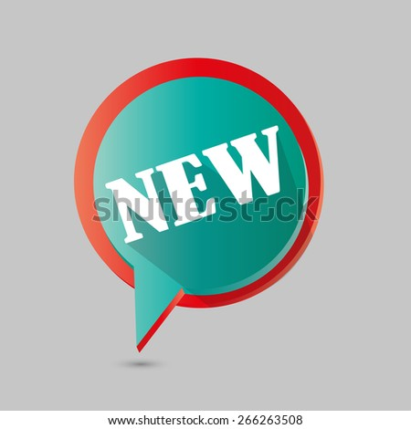 Flat Design Vector Sticker - Label with New Title - stock vector