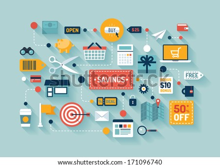 Flat design vector stylish illustration concept with icons of retail commerce and marketing elements such as promotion, coupon, discount with various shopping and money economy sign and symbol.  - stock vector