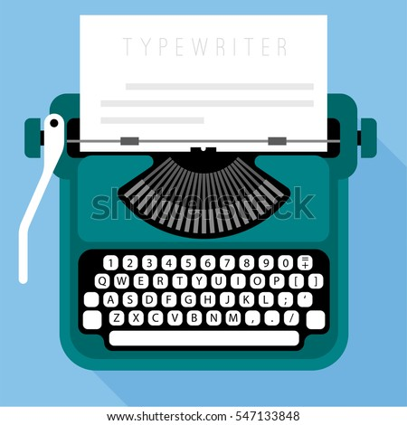 Flat design vector typewriter icon template
