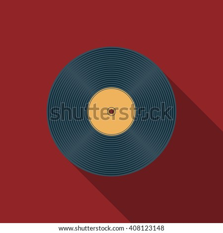 Flat design vector vinyl record icon with long shadow
