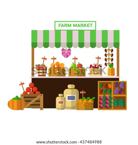 Flat design vegetables and fruits farm market vector illustration. - stock vector