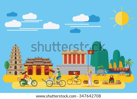 Flat design,Vietnamese landmarks such as Ho Chi Mihn Mausoleum, Heavenly Lady Pagoda, Imperial City and lifestyle of Vietnamese people