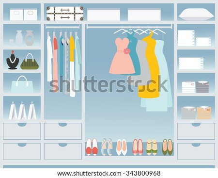Flat Design walk in closet, interior design, Clothing store, Boutique indoor, conceptual Vector illustration.