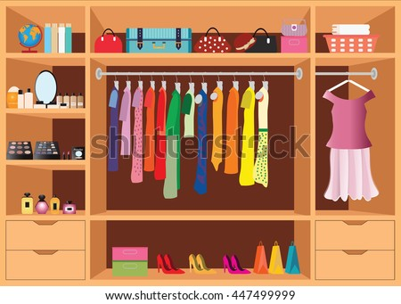 Flat Design Walk In Closet With Shelves For Accessories And Cosmetic Make Up Interior