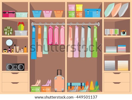 Flat Design walk in closet with shelves for accessories and cosmetic make up, interior design, Clothing store, Boutique indoor of woman's cloths, conceptual Vector illustration.
