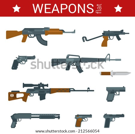Flat design weapons tools vector icon set. Guns, pistols, revolvers, rifles, shotguns, machine guns. Flat objects collection. - stock vector