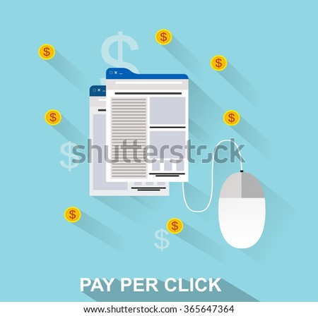 flat design web marketing pay per click internet advertising - stock vector