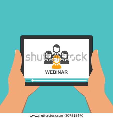 Flat design webinar concept. Online education. - stock vector