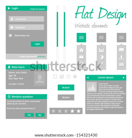 Flat design - website elements - modern template version - login box, user box, dialog, buttons, radio buttons, checkbox, sliders and vertical menu - stock vector