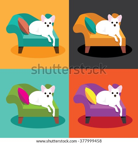 Flat design white Chihuahua on chaise in pop art style EPS 10 vector illustration.