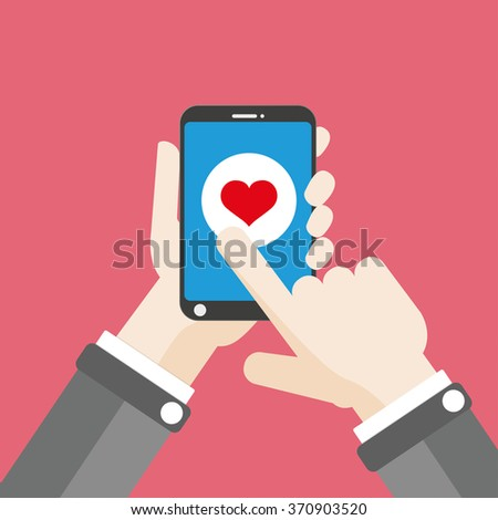 Flat design with human hand, smartphone and heart button. Eps 10 vector file.