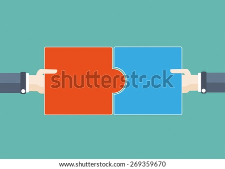 Flat design with human hands and two puzzle pieces. Eps 10 vector file. - stock vector
