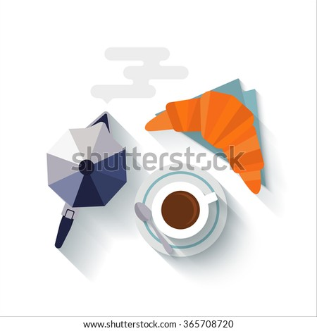 Flat design with long shadows Italian breakfast with a cup of coffee, croissant and coffee maker isolated on white. Concept for menu cafes and bars. Vector illustration. - stock vector