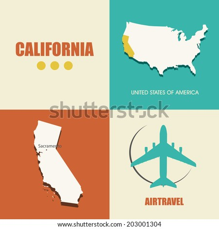 flat design with map California concept for air travel - stock vector