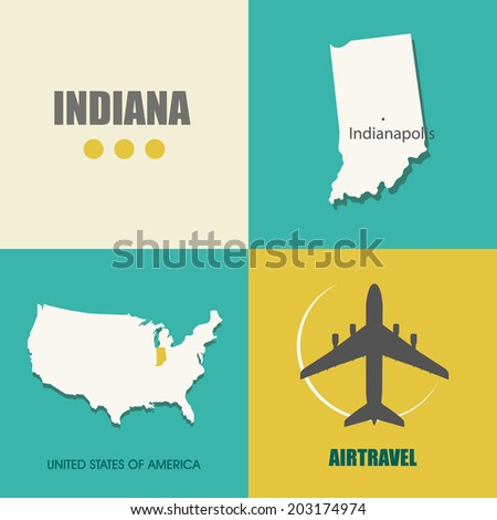 flat design with map Indiana concept for air travel - stock vector
